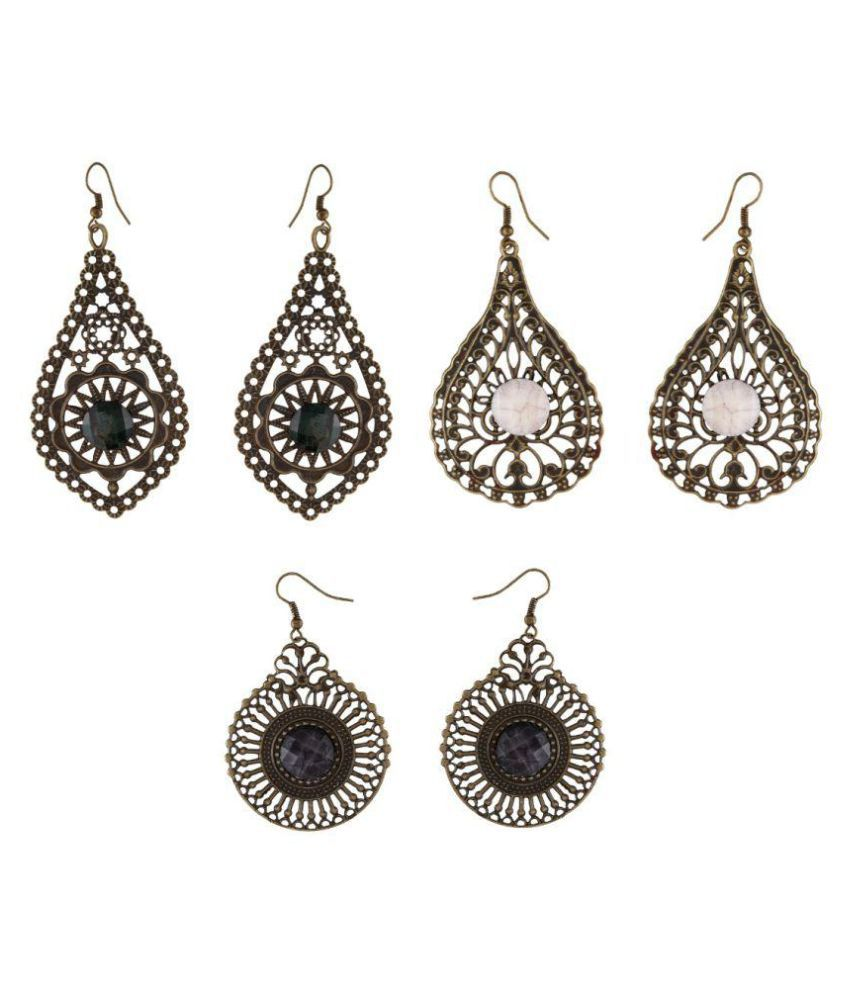 9blings Combo of 3 Pair of Metal Earring