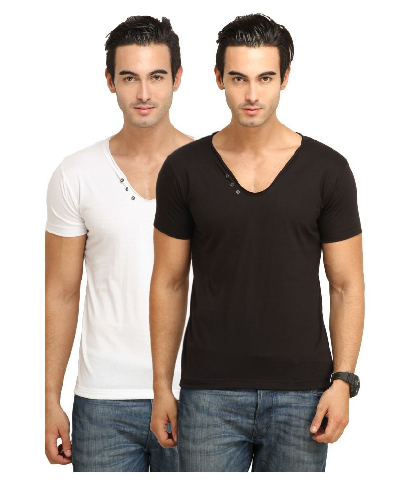 fio Multi V-Neck T-Shirt Pack of 2