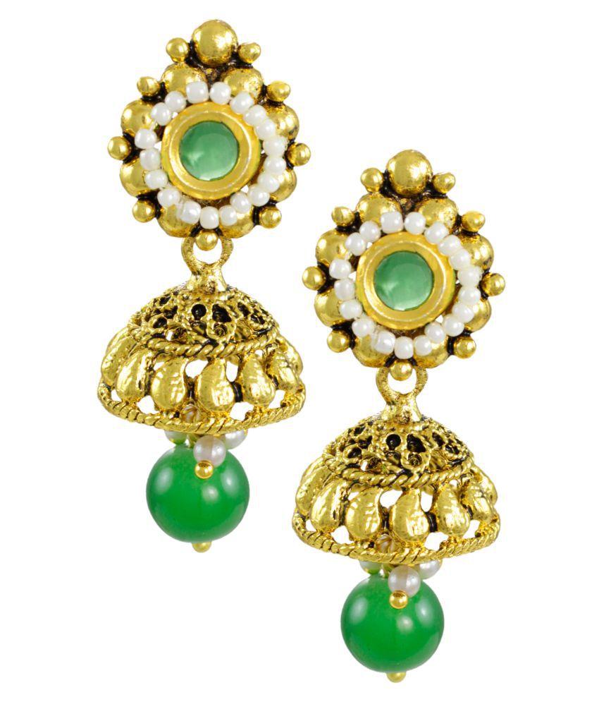 Zaveri Pearls Traditional Green Stone Drop Earring
