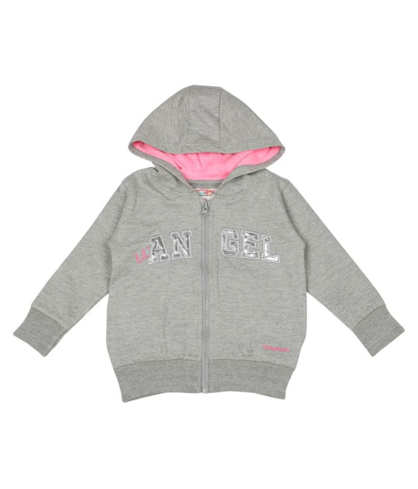 Wowmom Gray Front Open Sweatshirt