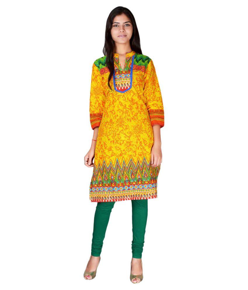 Madhuvan Yellow Cotton Straight Kurti
