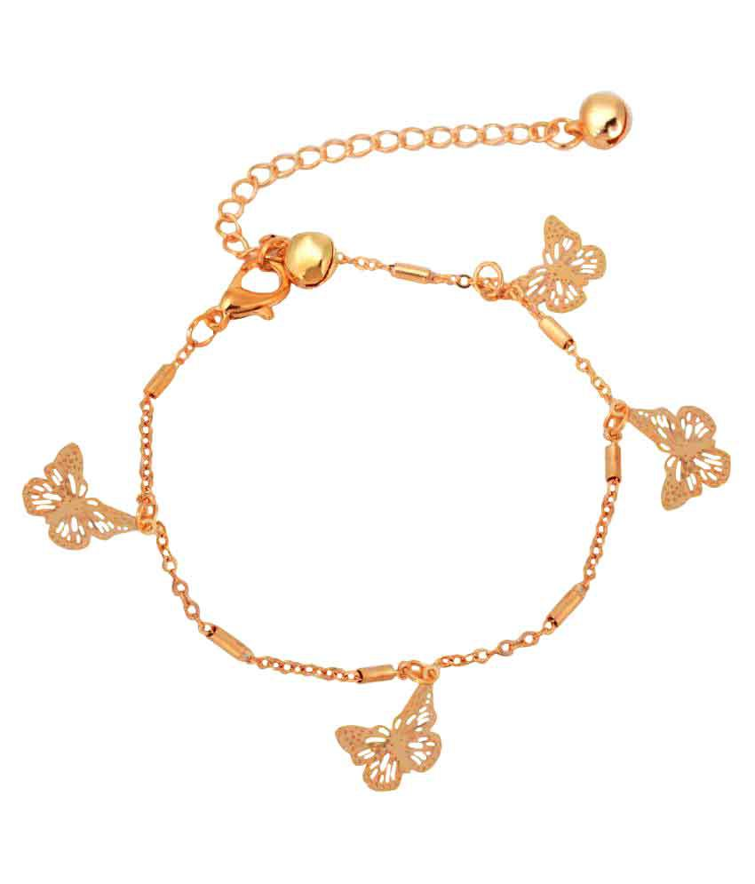 Aaishwarya Golden Alloy Butterfly Drop Anklet