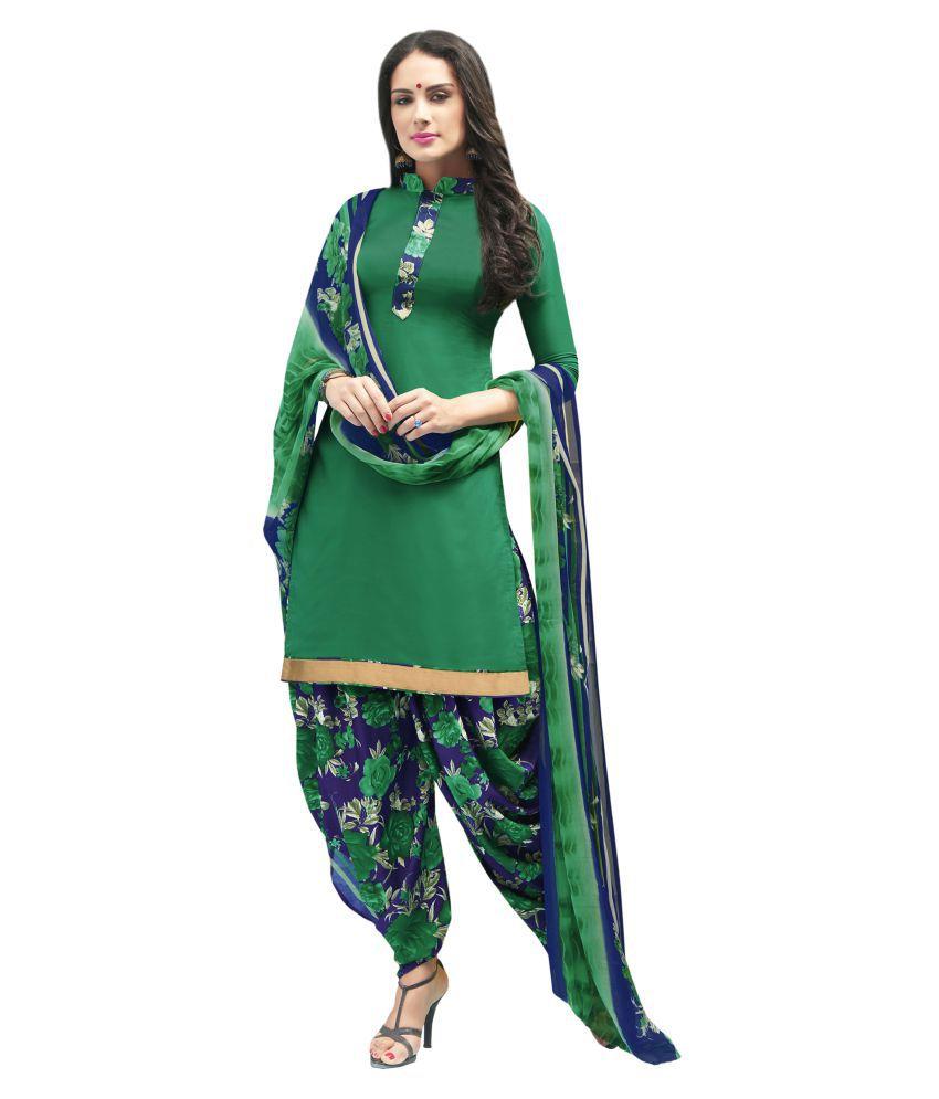 Designer Salwar Suits Green Crepe Dress Material