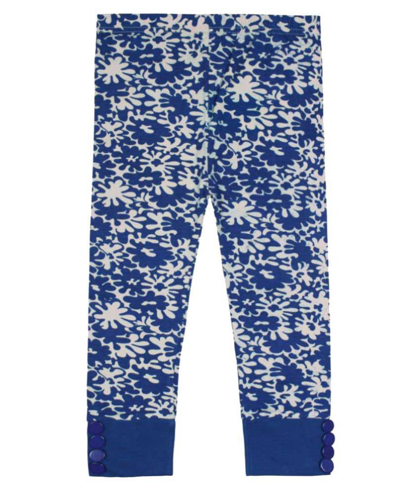 Jazzup Blue Cotton Blend Capri