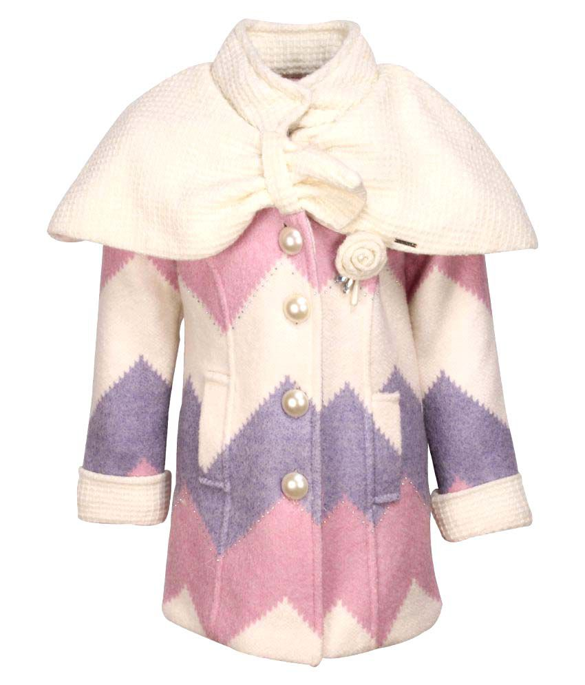 Cutecumber Multicolour Acrylic Partywear Winter Girls Coat