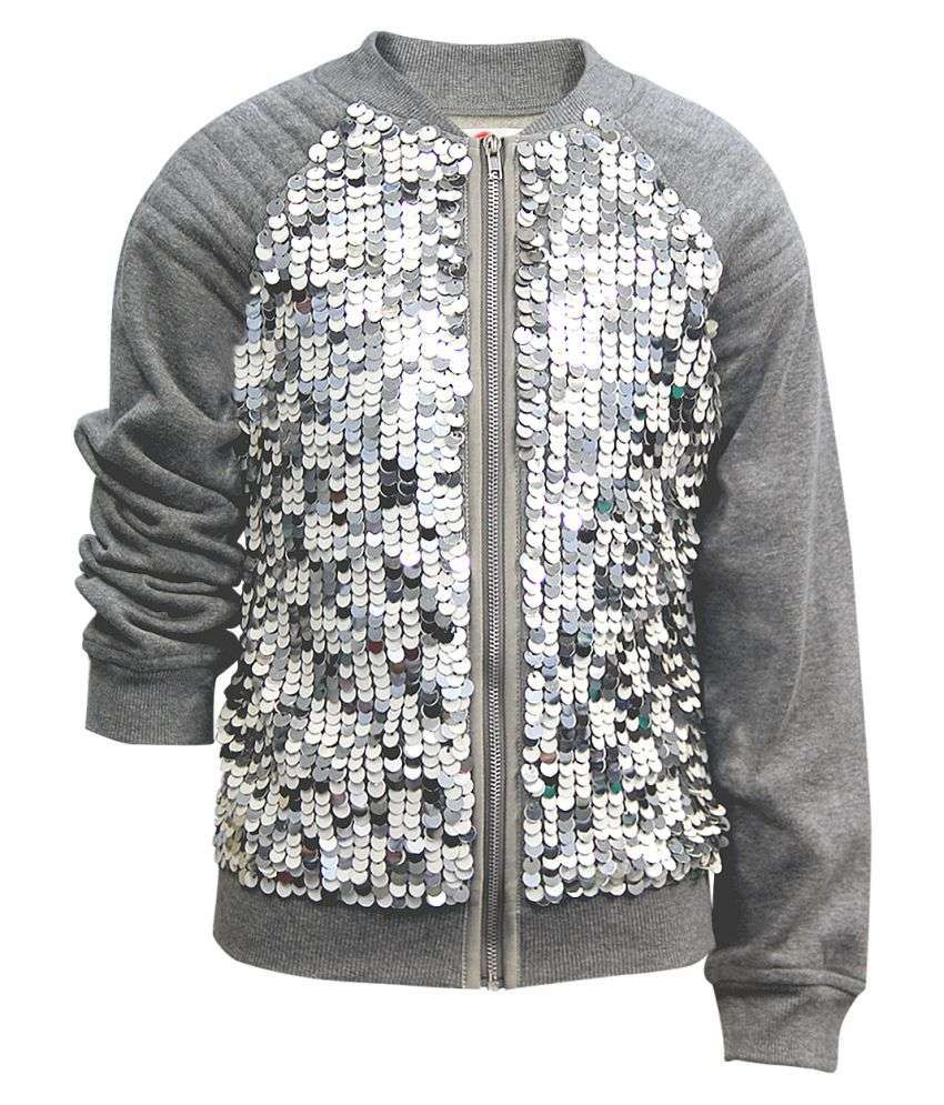 The Cranberry Club Gray Polyester  Sequins Jacket