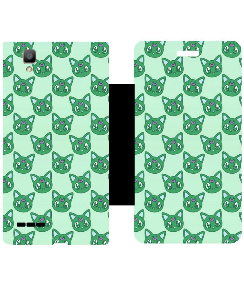 Oppo F1 Flip Cover by Skintice - Green