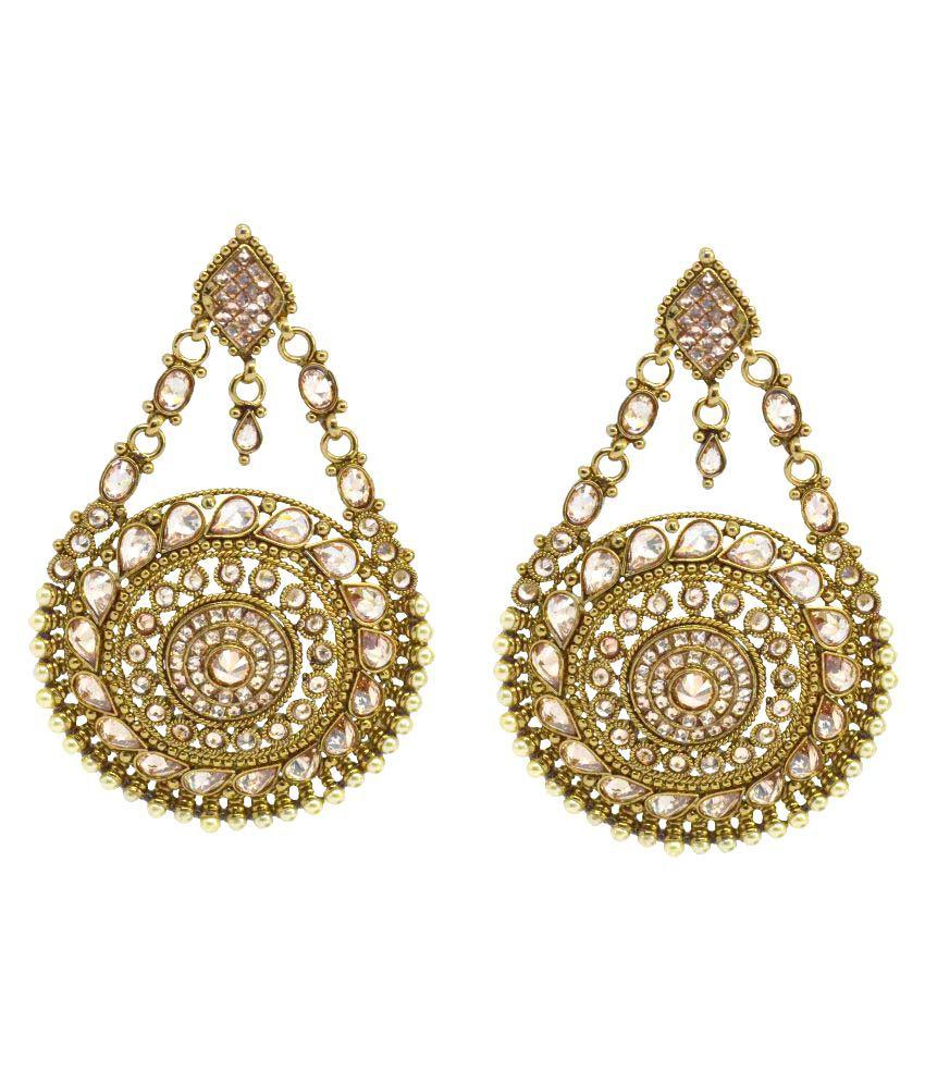 Saloni Fashion Jewellery Golden Chandeliers Earrings