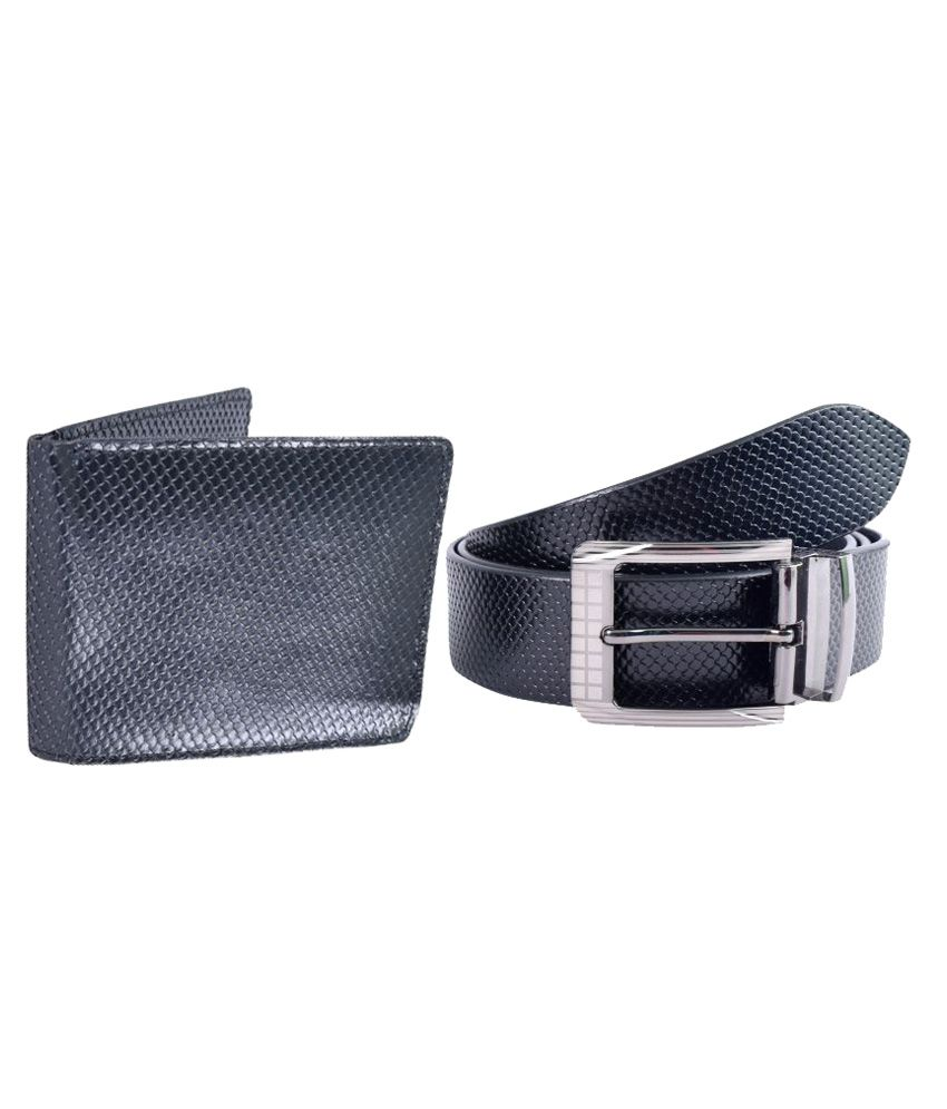 Kern Black Leather Casual Belts and Wallet Combo