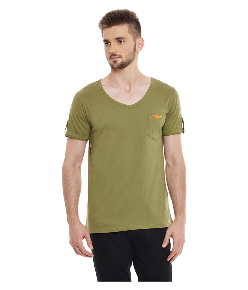 Yepme Green V-Neck T-Shirt