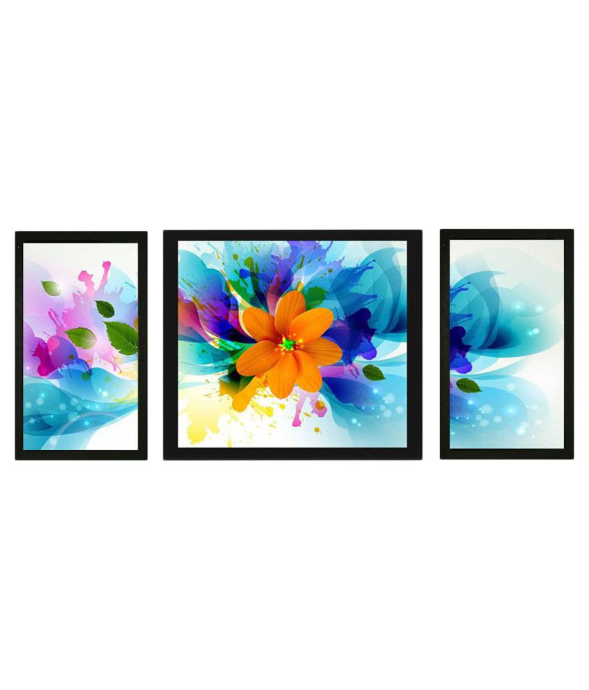 Craftsfest Floral Art Wood Painting With Frame 3 Combination