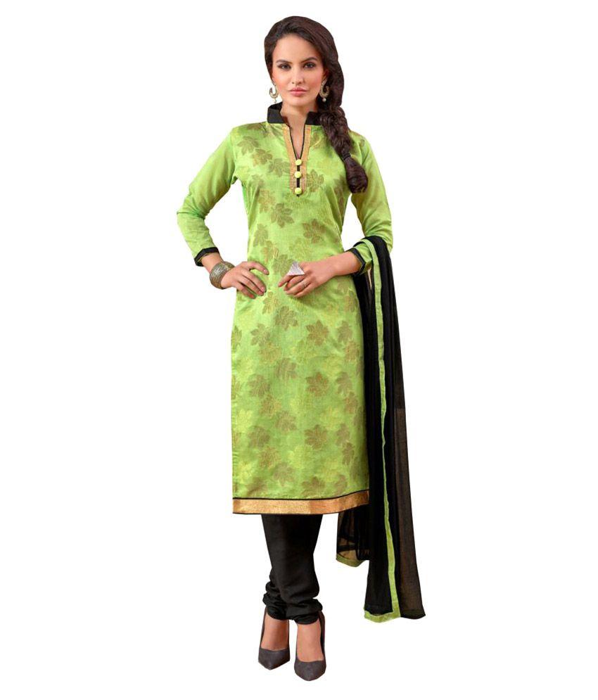 Designer Salwar Suits Green Chanderi Dress Material