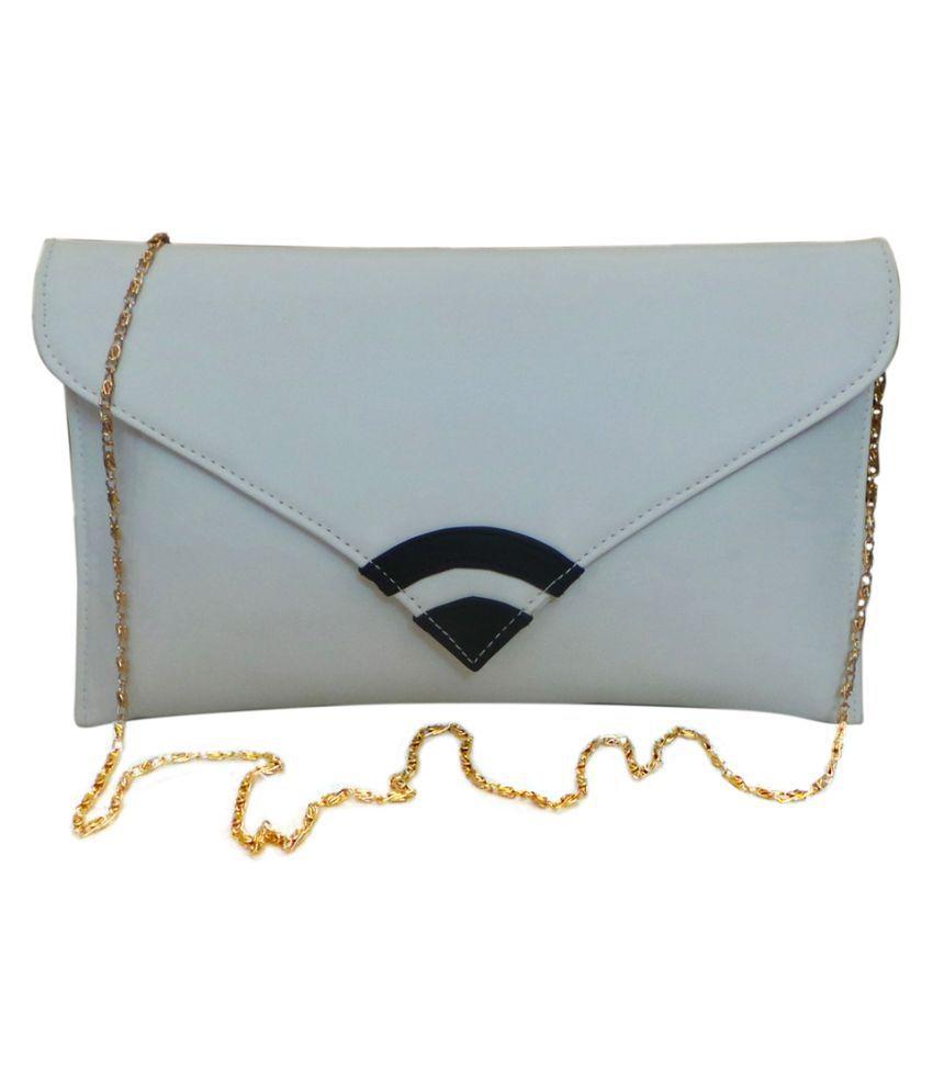 Vardhini White Fabric Box Clutch