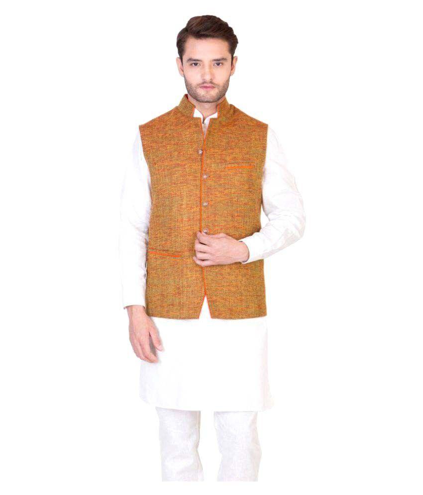 Desam Orange Jute Nehru Jacket