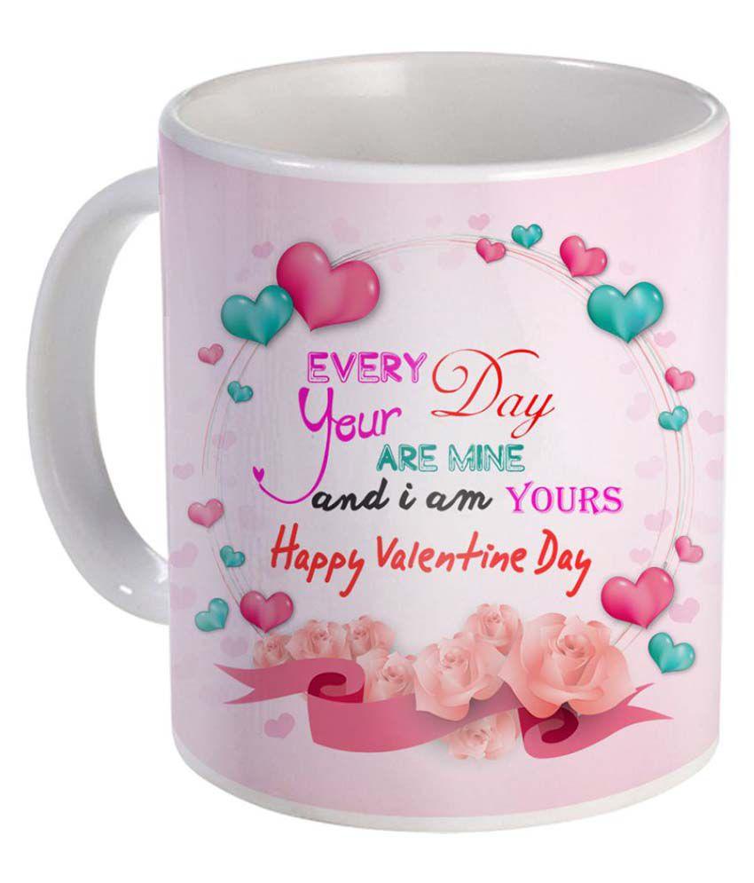 Sky Trends valentine's Day Special Gifts For Girlfriend Boyfriend Ceramic White Mug  325 ml