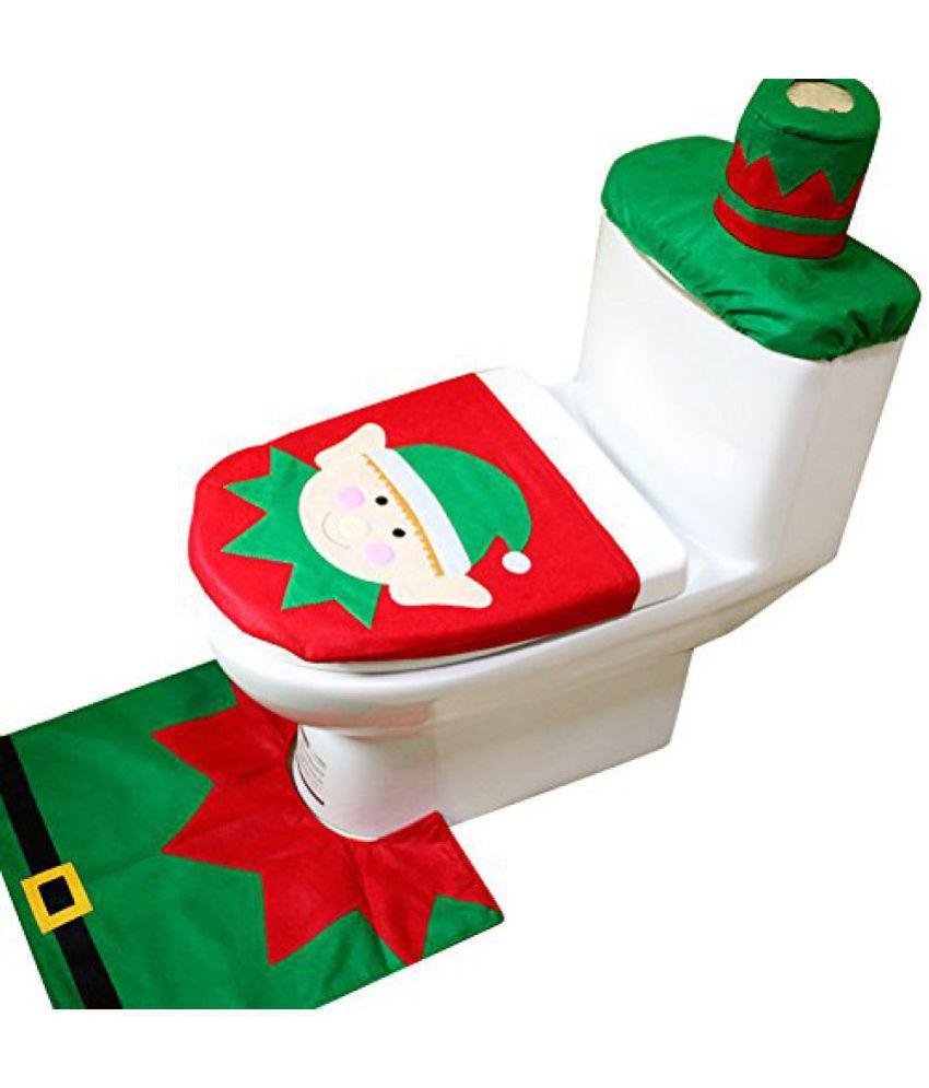 Futaba Christmas Decor Elf Toilet Seat Polyester Cover