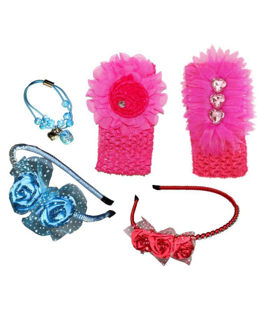 Goodluck Collection Multicolour Metal Style Hairband - Set of 2 with 2 Clips and 1 Rubber Band