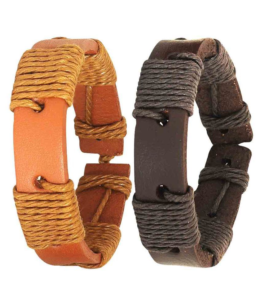 Maayra Multicolour Men's Leather Free Size Everyday Bracelet - Set of 2