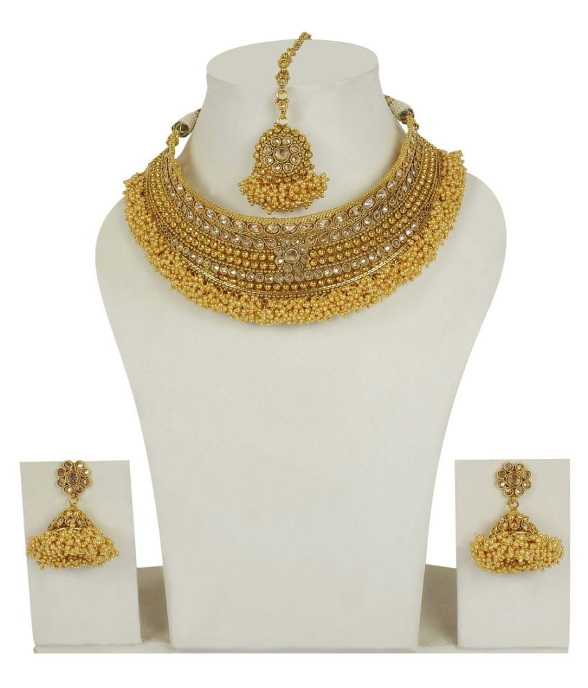 Much More 18k Gold Plated South Indian Style Crystals Stone Work Polki Necklace Set  For Women