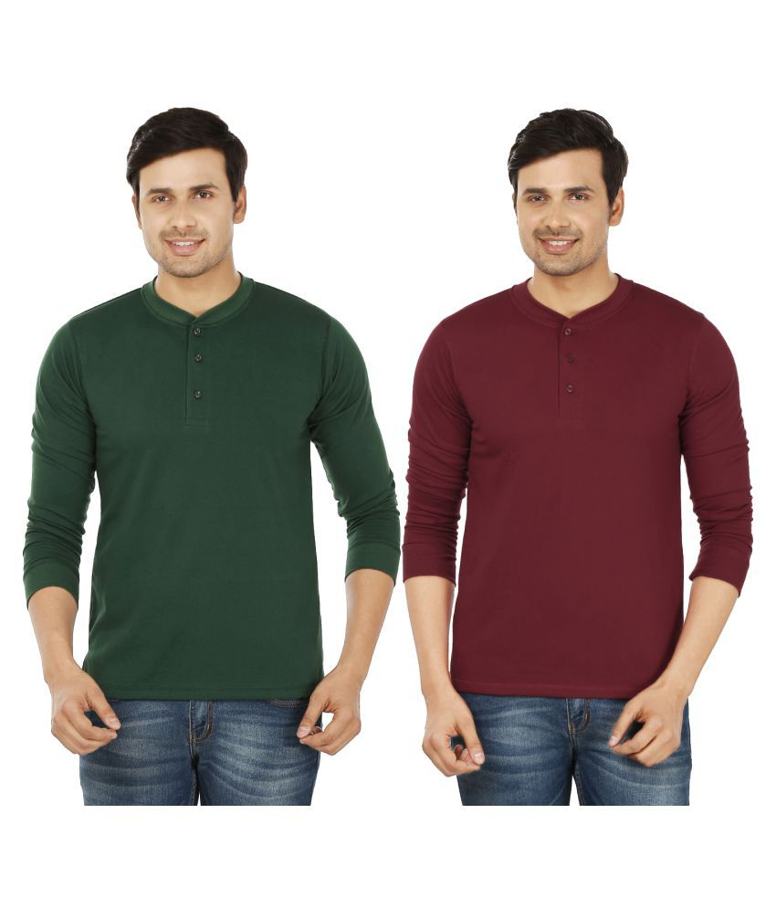Weardo Multi Henley T-Shirt Pack of 2