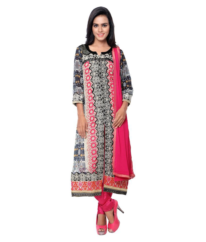 Dilsesale Multicoloured Georgette Straight Stitched Suit