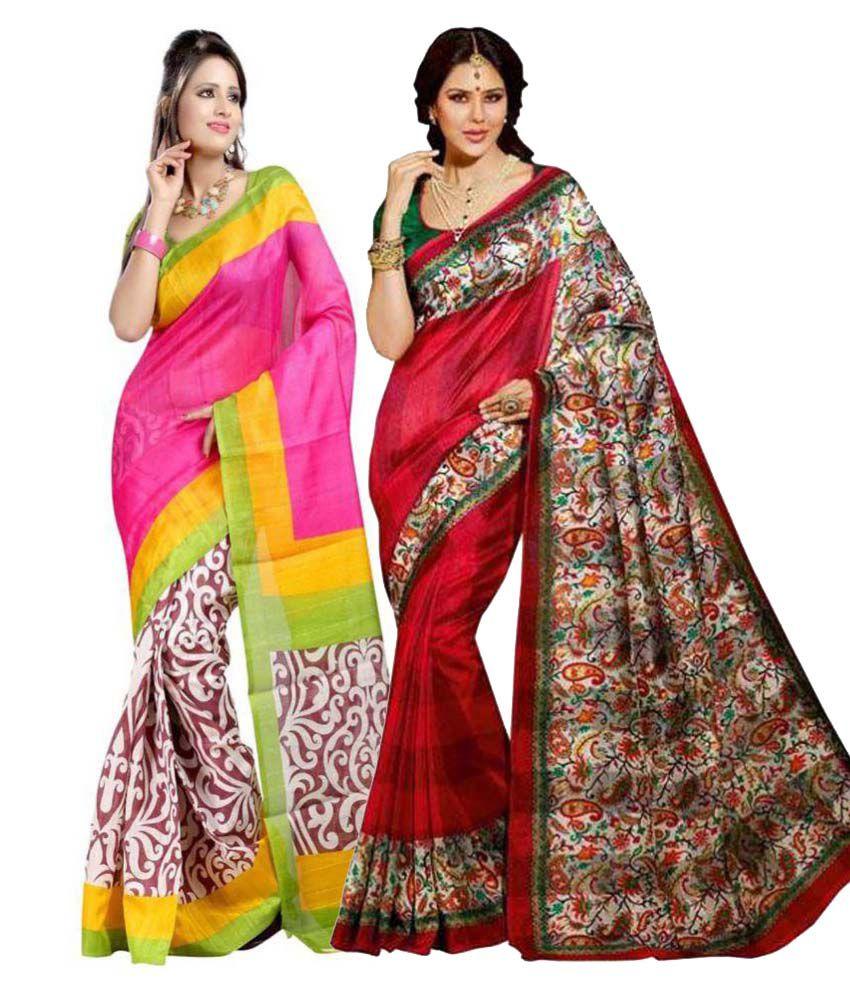 7 Brothers Multicoloured Bhagalpuri Silk Saree Combos