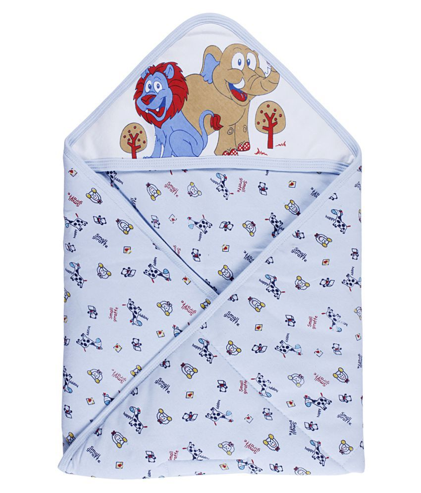 Littly Printed Hooded Baby Wrapper/ Blanket For Newborns and Infants (Blue) Baby Blanket/Baby Swaddle/Baby Sleeping Bag