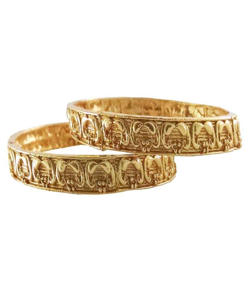 Rejewel 18k Gold Plated Antique Bangle Set For Women
