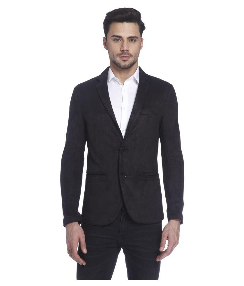 Jack & Jones Black Solid Casual Blazers