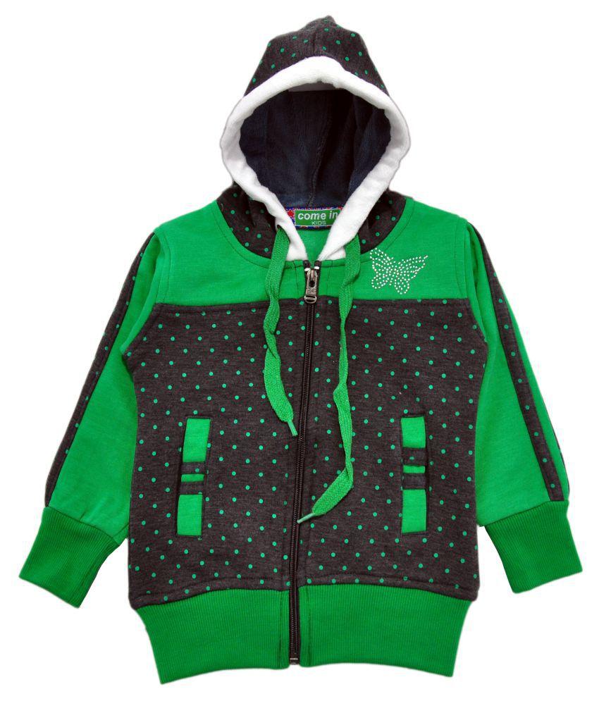 Come In Kids Multicolor Fleece Girl's Printed Sweatshirt
