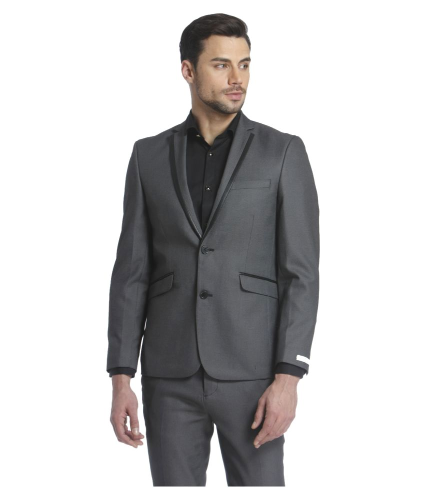 Jack & Jones Grey Solid Casual Blazers