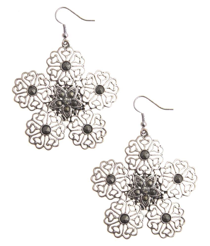 Jewelizer Silver Alloy Hanging Earrings