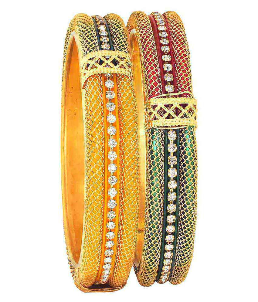 Maayra Women's Brass Multicolour Wedding Bangle Set