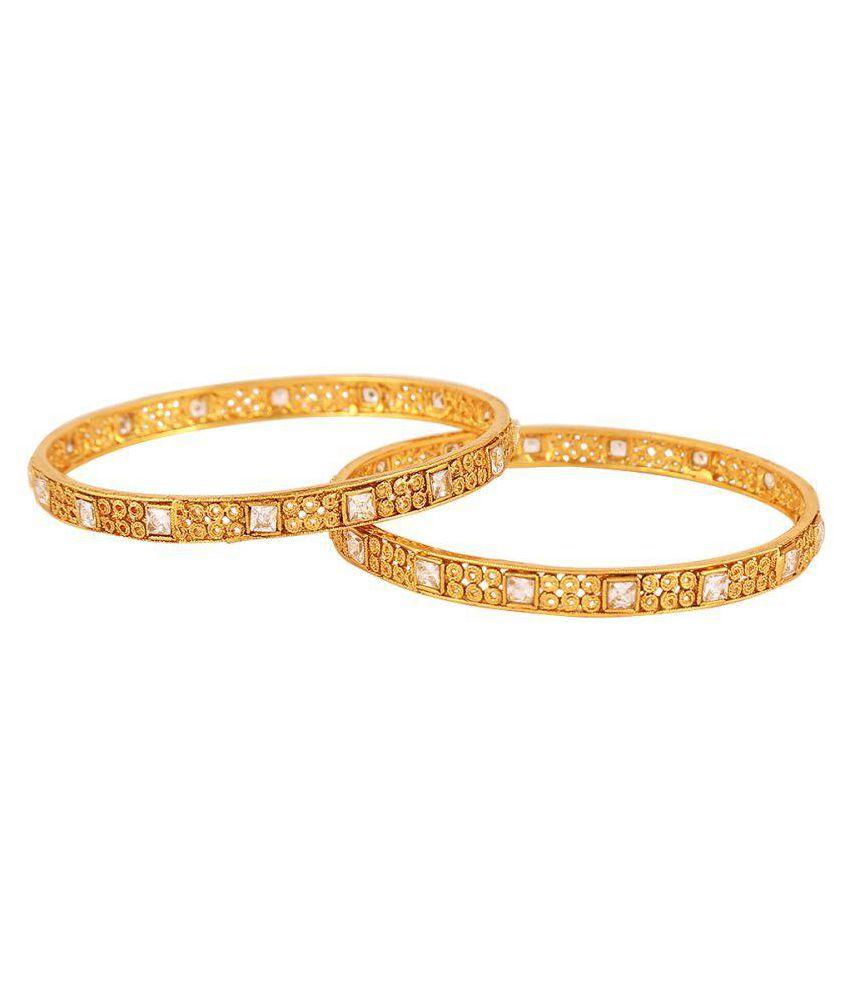 Sheel Golden Alloy Diamond Ethnic Bangle Set