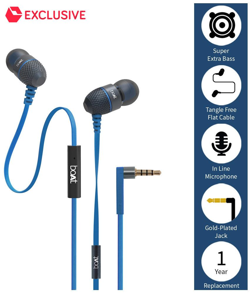 Minimum 50% off On Headphones & Earphones By Snapdeal | boAt BassHeads 200 In Ear Wired With Mic Earphones Blue @ Rs.449
