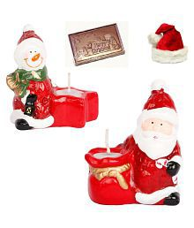 Ghasitaram Gifts Set Of 2 Santa Candles With Christmas Chocolate Bar