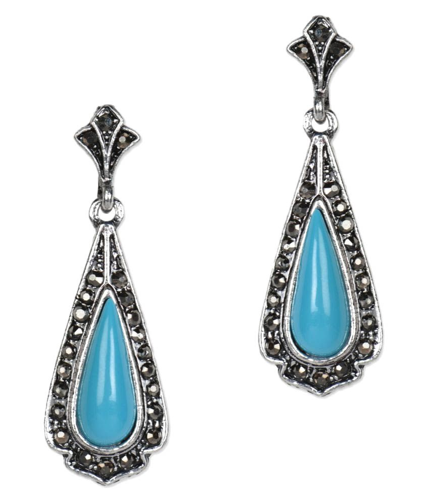 Jewelizer Blue Alloy Hanging Earrings