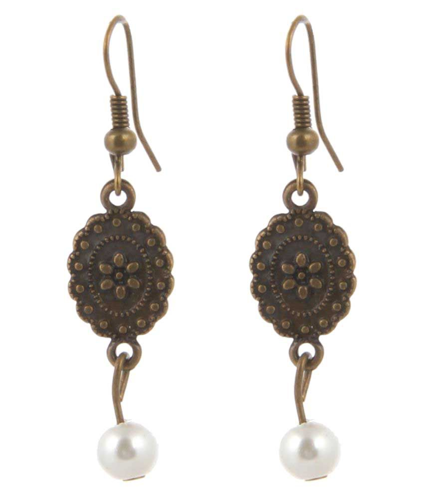 Jewelizer Golden Alloy Hanging Earrings