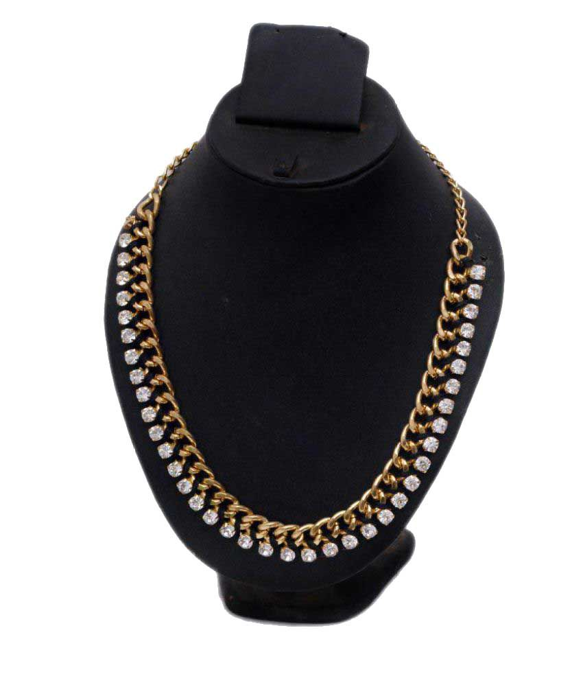 Ayan creation  white stones gold Metal Necklace