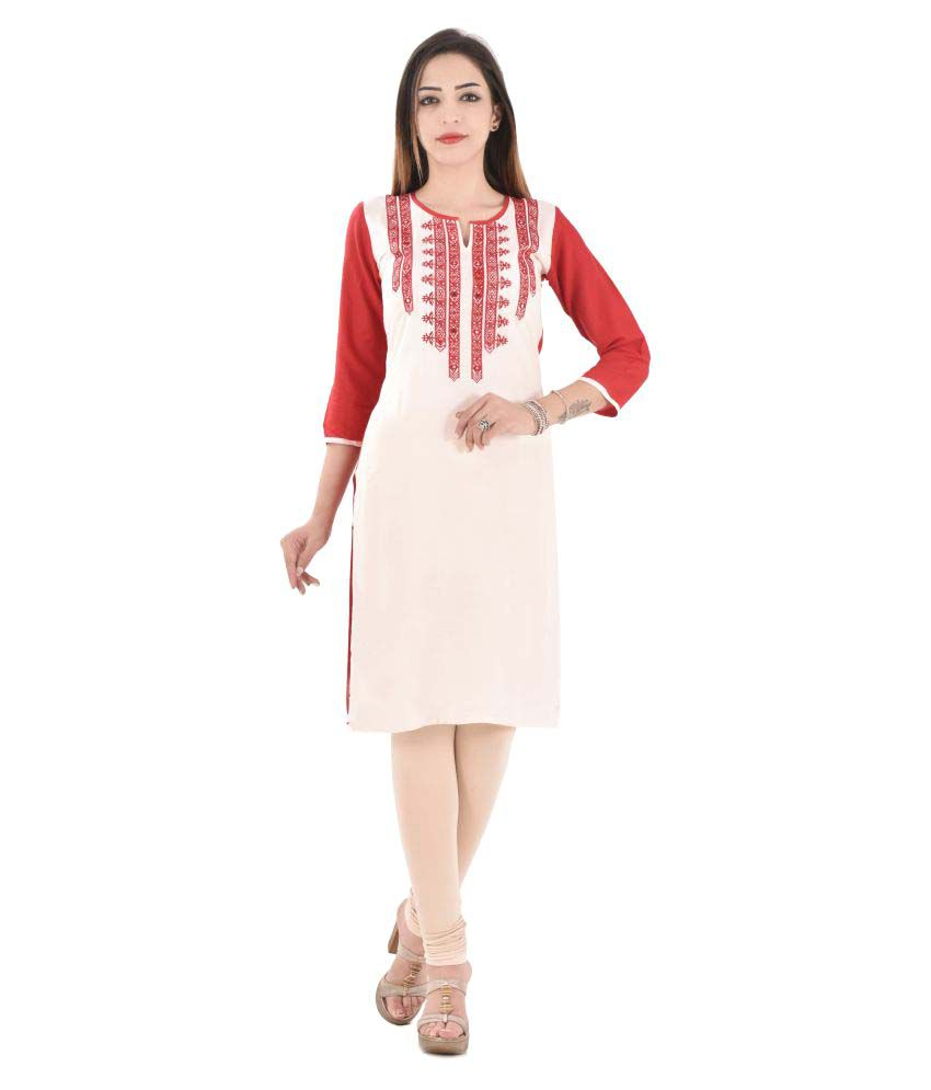 Colour Cluster Red Rayon Straight Kurti