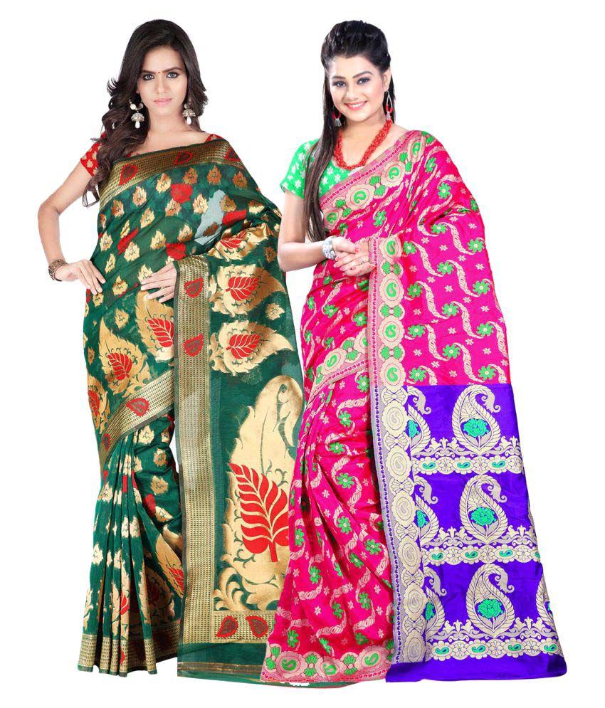 Aksh Fashion Multicoloured Cotton Blend Saree Combos