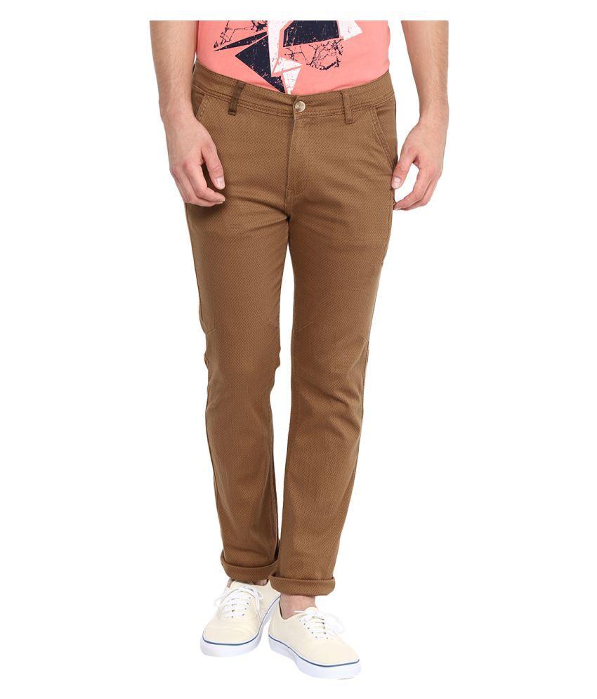 Yepme Brown Slim Flat Trouser