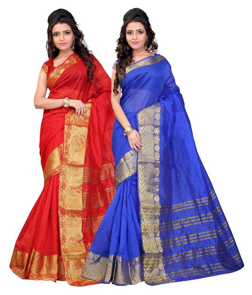 Aksh Fashion Multicoloured Woollen Saree Combos