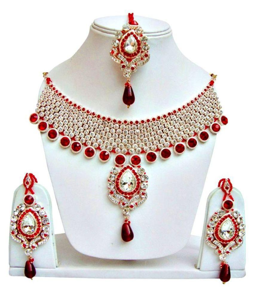 Penny Jewels CZ Bridal Red Necklace Set With Manngtika
