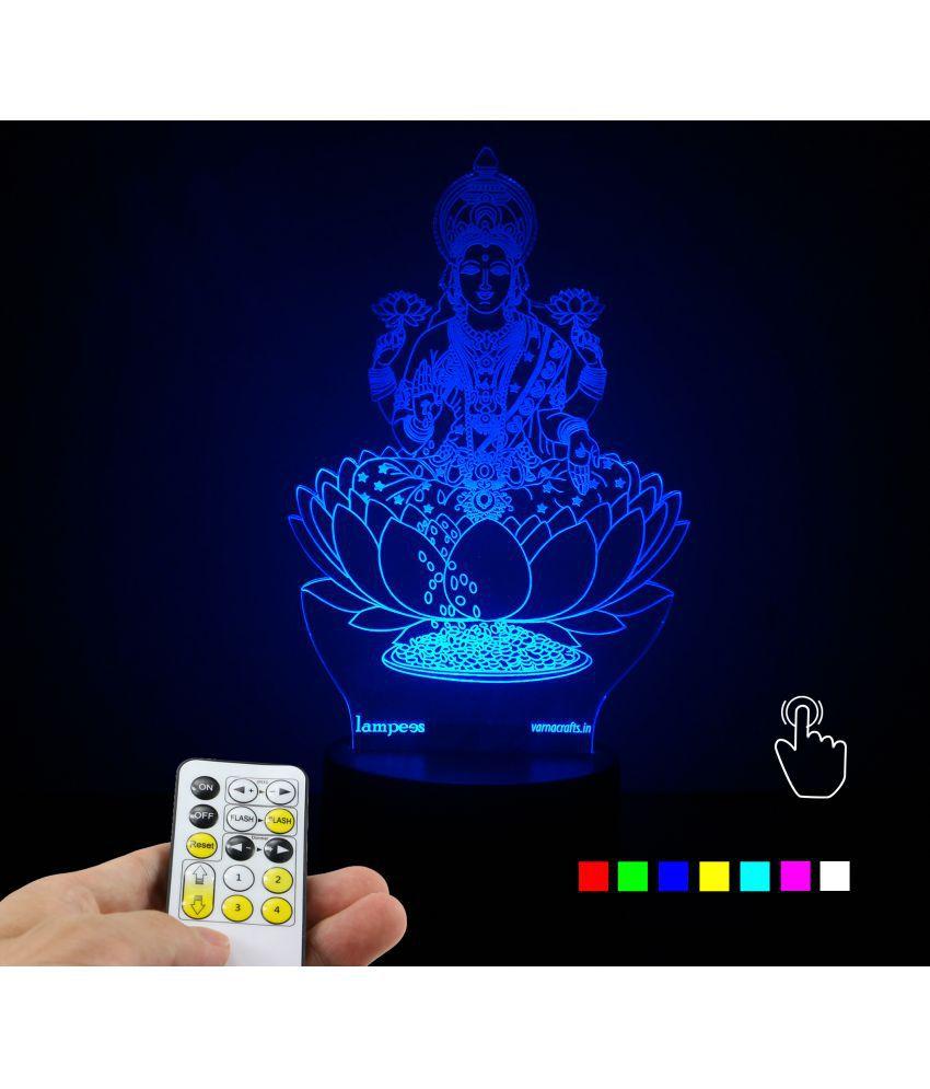 Varna Crafts Lampees 3D Illusion Lakshmi Devi Led Night Lamp Multi
