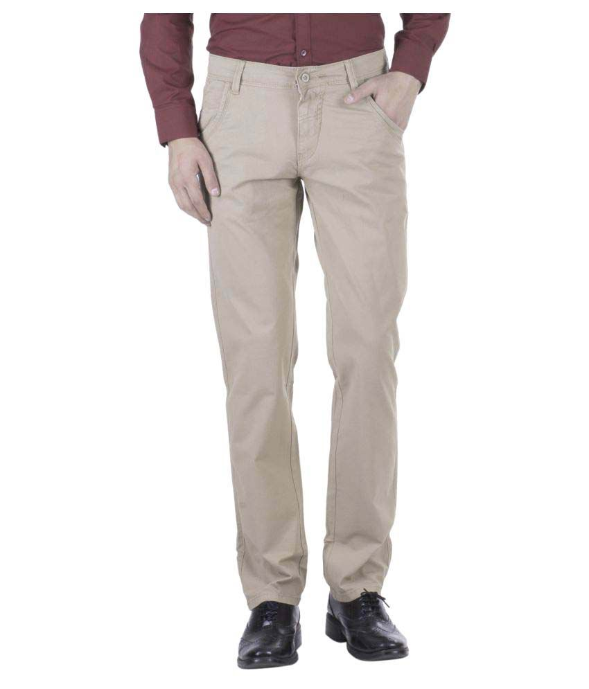 Hoffmen Beige Regular Flat Trouser