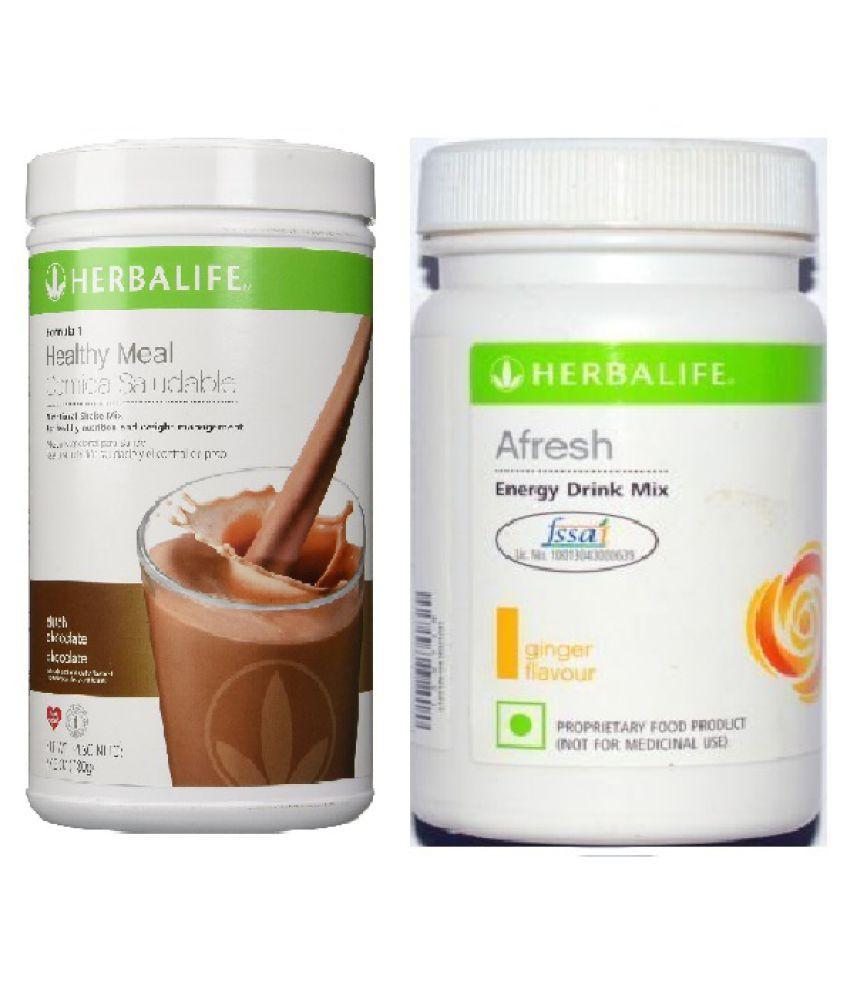 Herbalife Formula 1 Shake 500g Dutch Chocolate and Afresh Energy Drink 50g Ginger Flavour Powder
