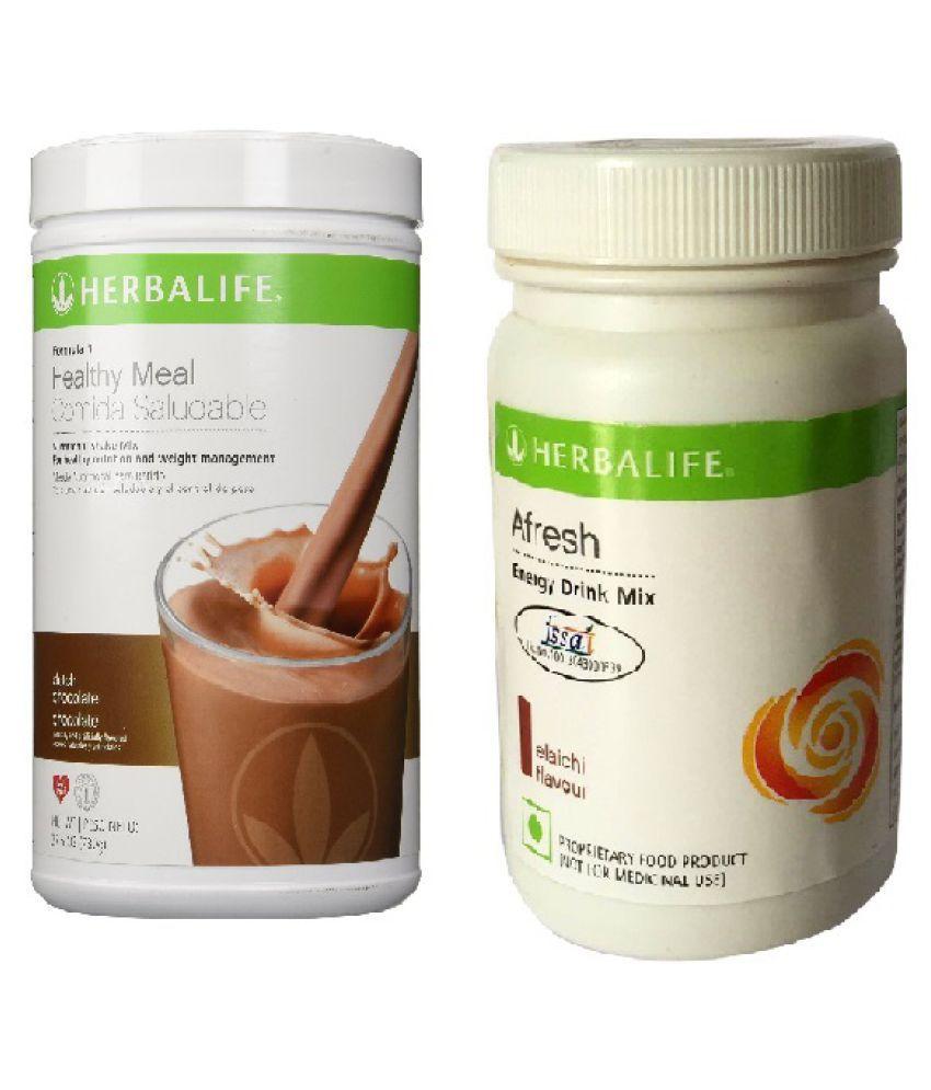 Herbalife Formula 1 Shake 500g Dutch Chocolate and Afresh Energy Drink 50g Elaichi Flavour Powder