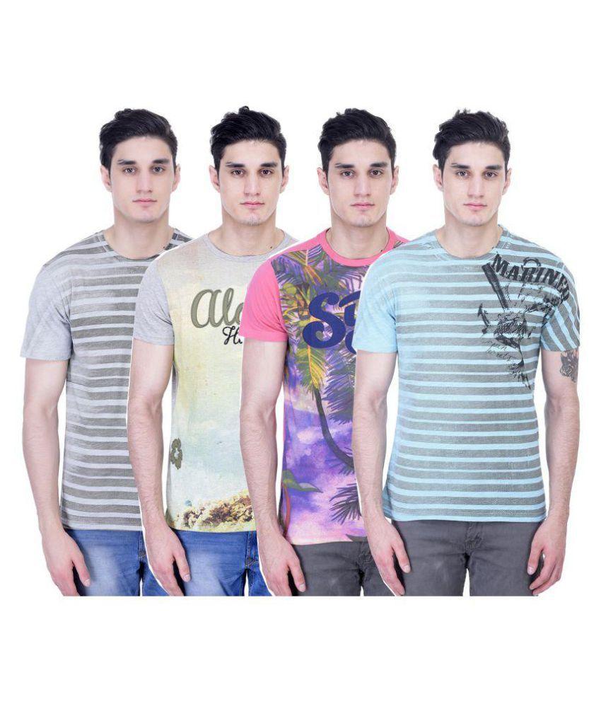 John Caballo Multi Round T-Shirt Pack of 4