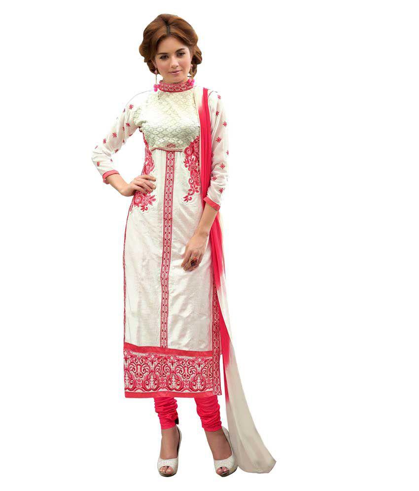 Walknshop White Cotton Dress Material